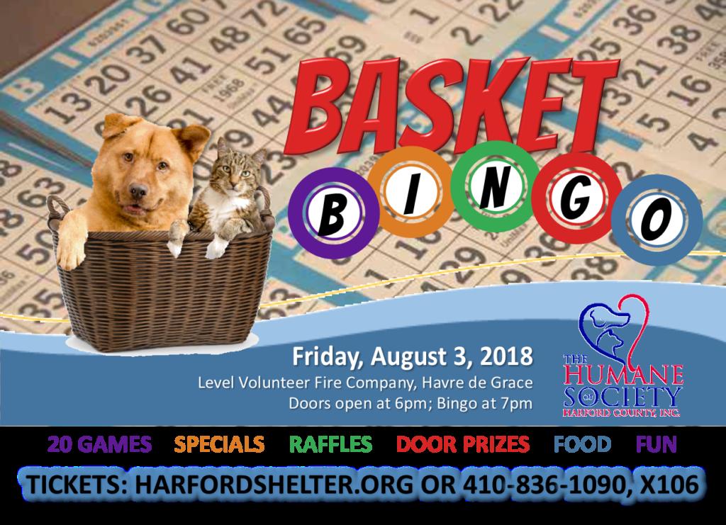 Basket Bingo Fundraiser For Homeless Animals The Humane Society Of Harford County