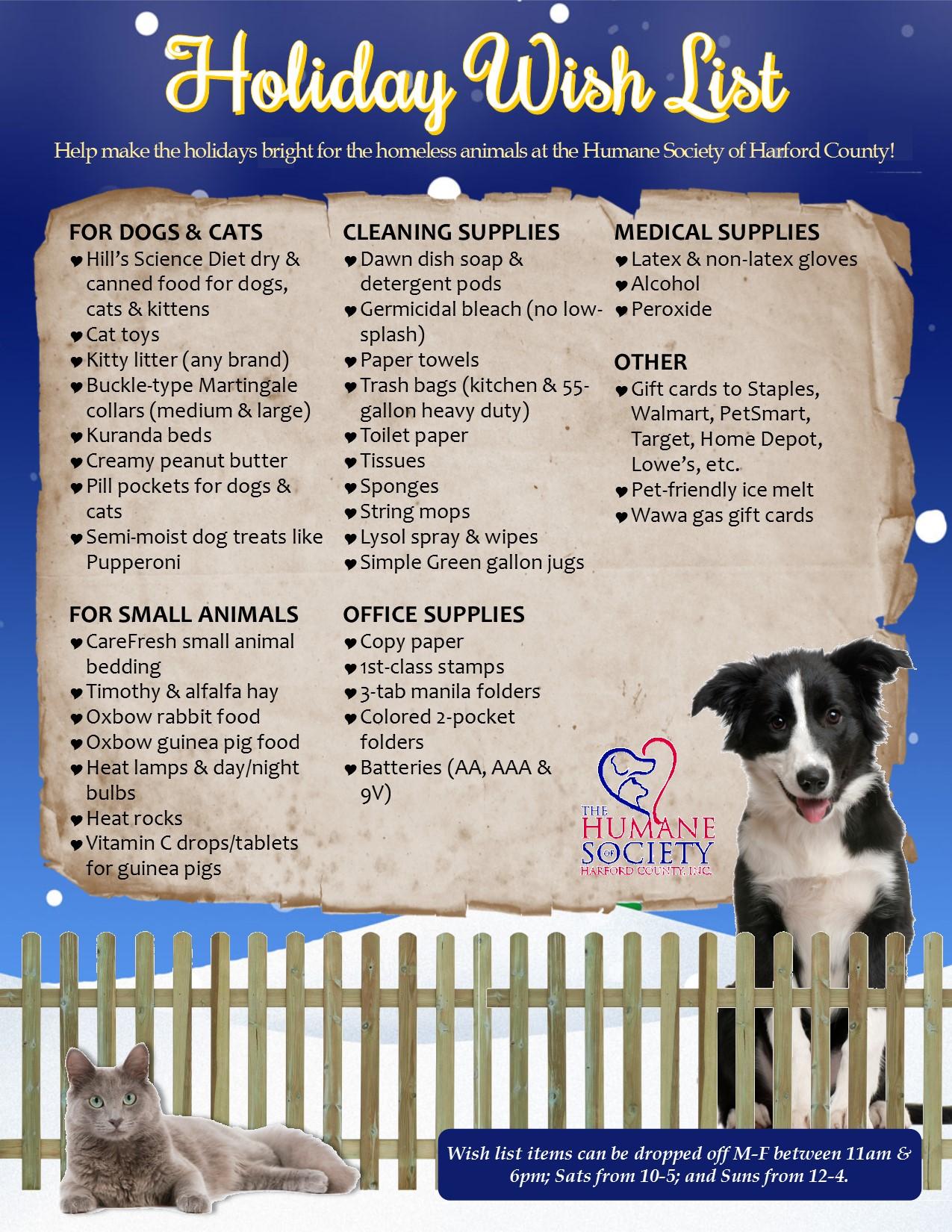 Holiday Wish List The Humane Society Of Harford County