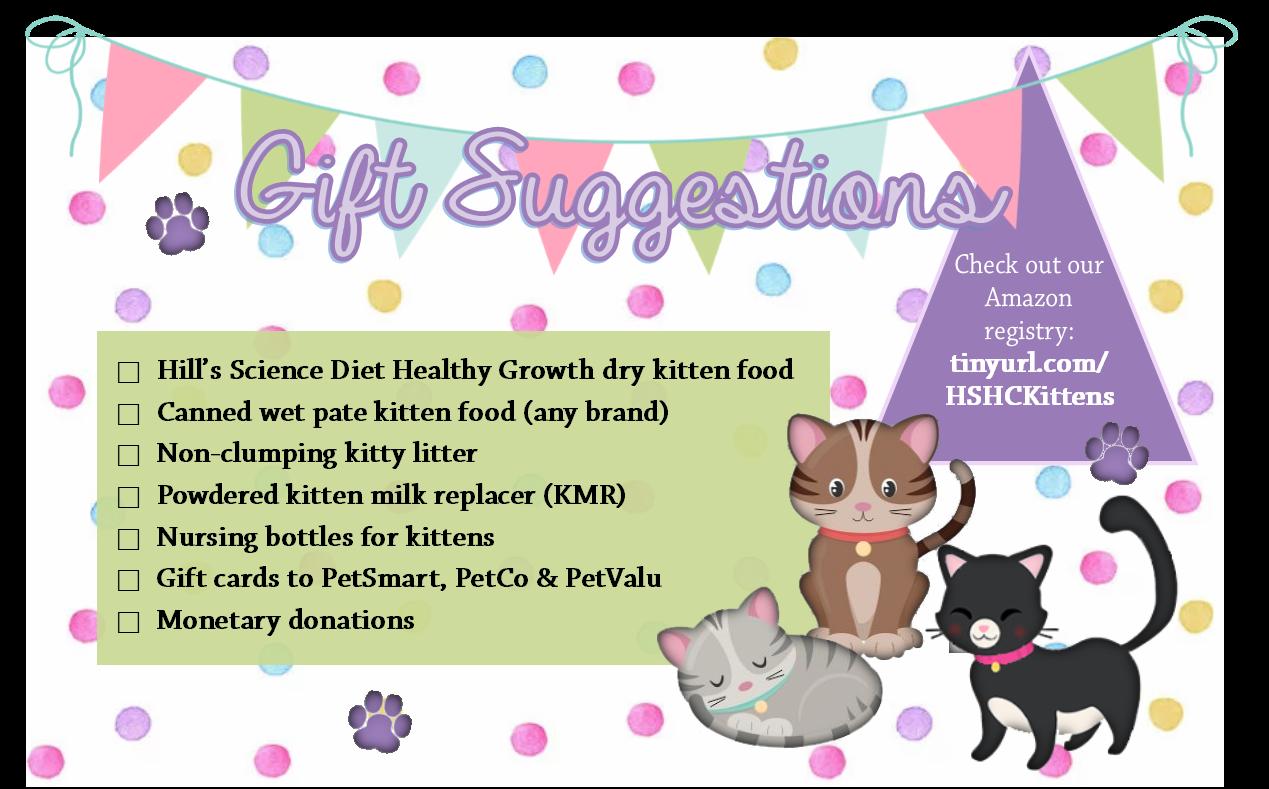 Kitten Shower Postcard Back The Humane Society Of Harford County
